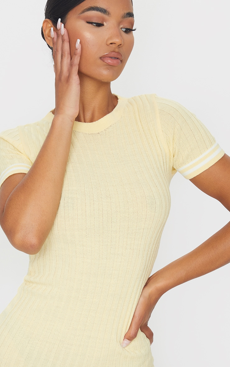 Yellow Stripe Sleeve Knitted Mini Dress 4