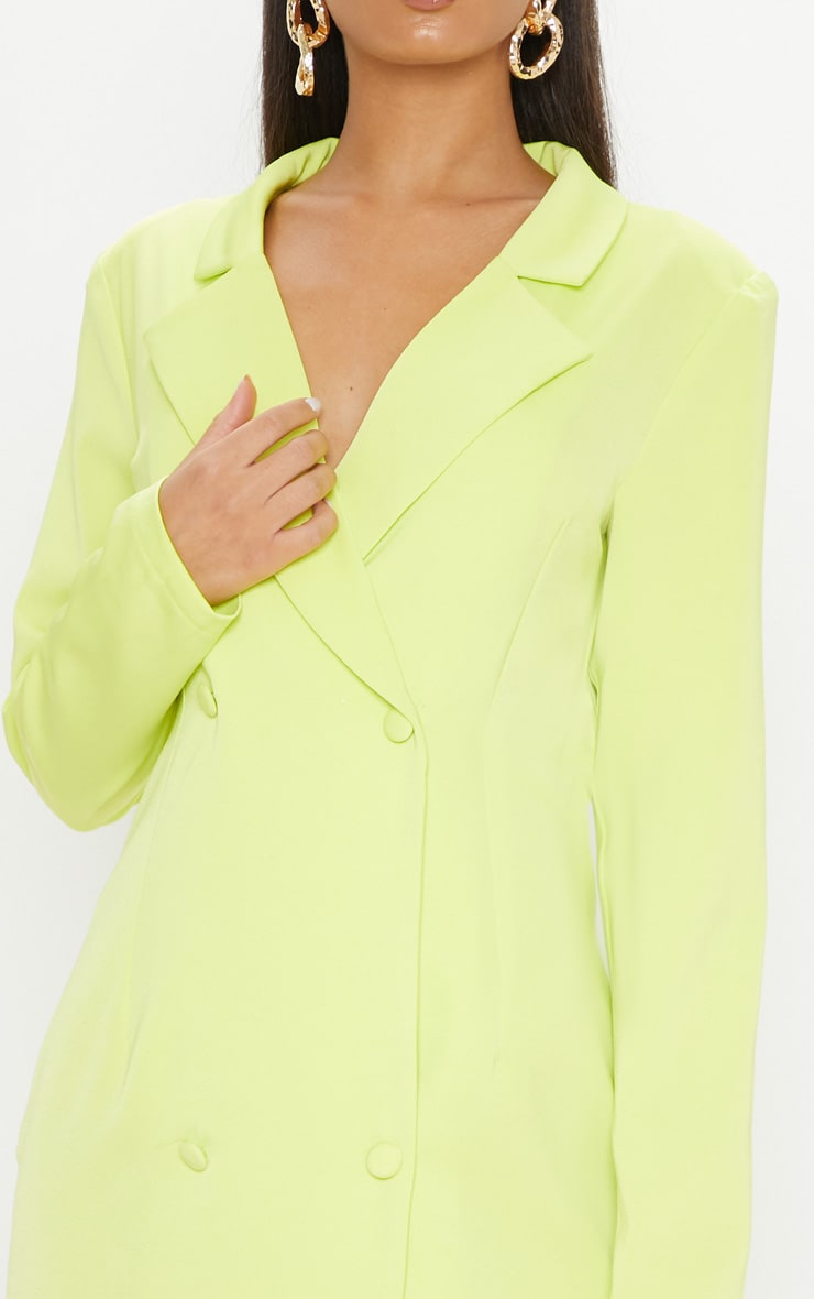 Neon Lime Long Sleeve Blazer Dress 5