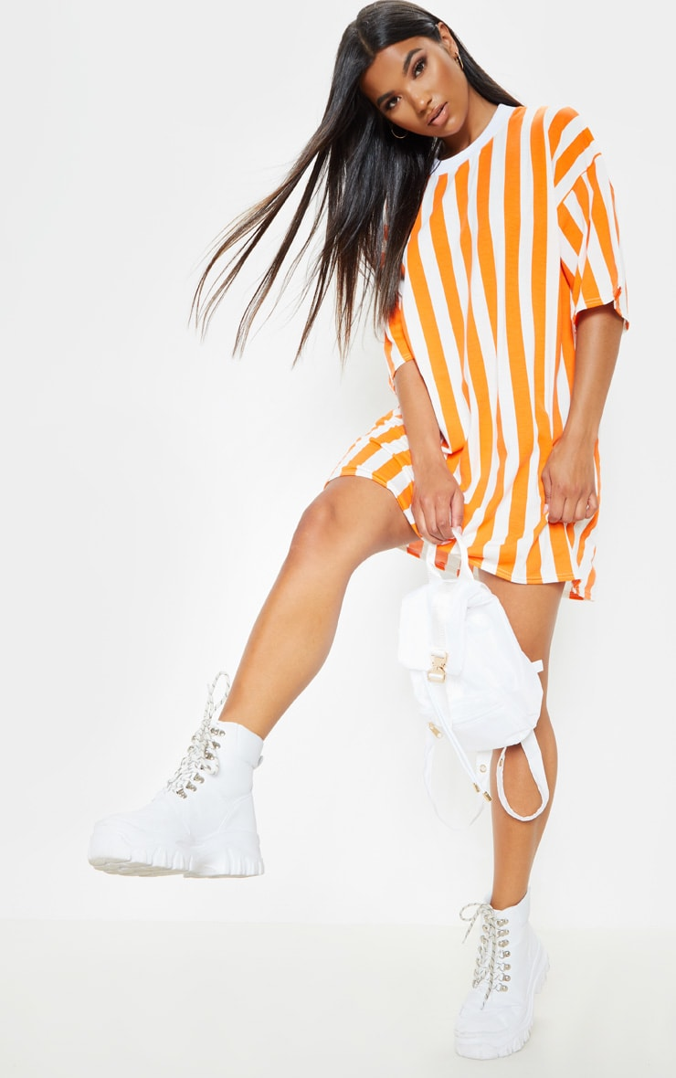 Orange Vertical Stripe Oversized Boyfriend T Shirt Dress 4