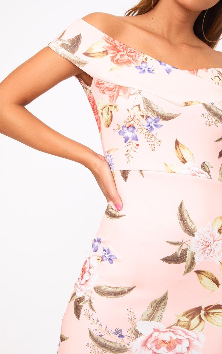 Peach Floral Bardot Midi Dress 5