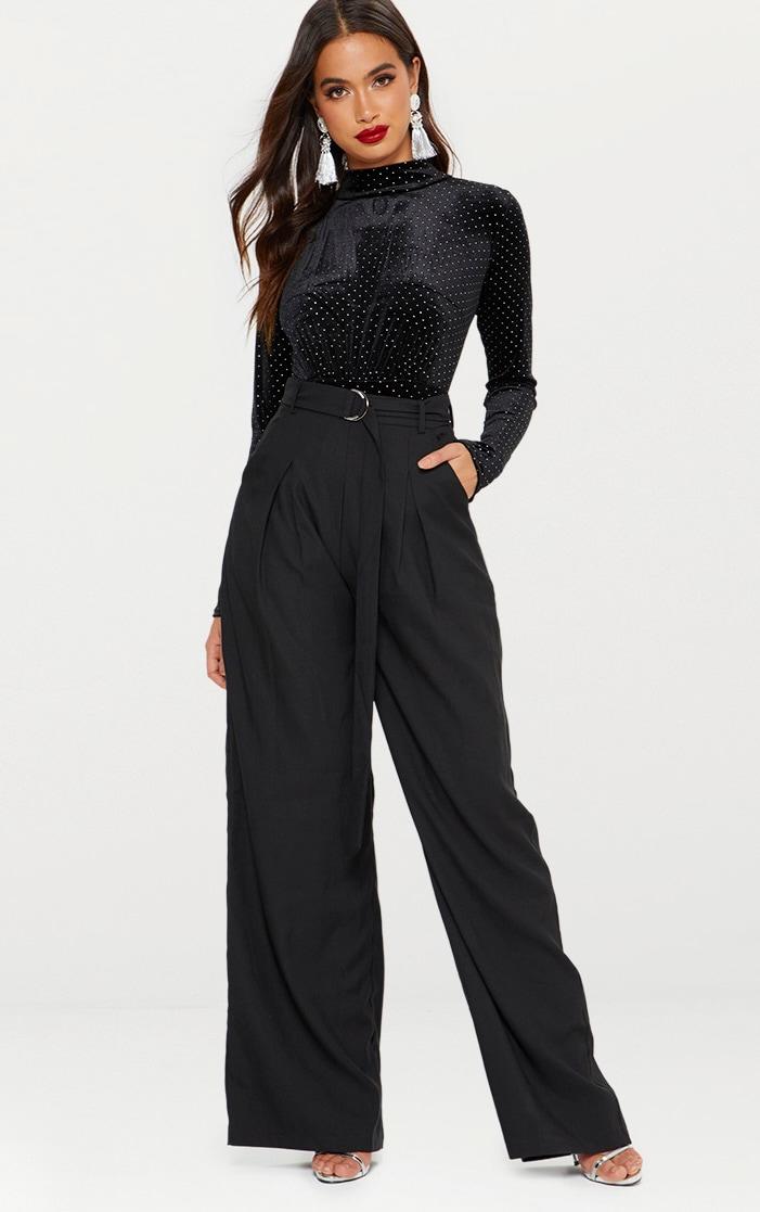 Black Velvet Sparkle Gathered Front Thong Bodysuit  5
