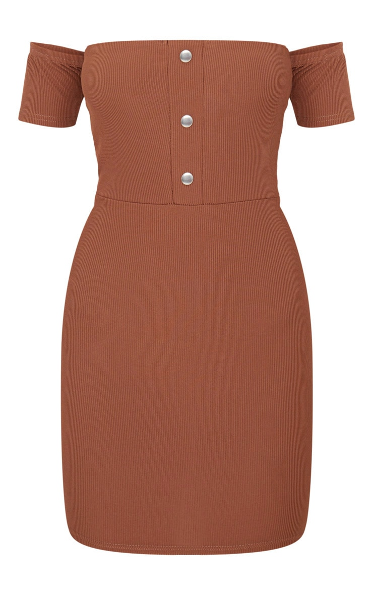 Brown Bardot Popper Detail Bodycon Dress 3