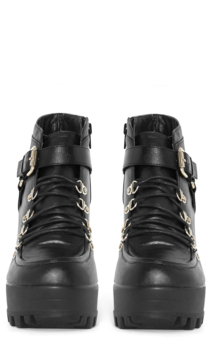 Celestia Black Cleated Sole Lace Up Boot  2