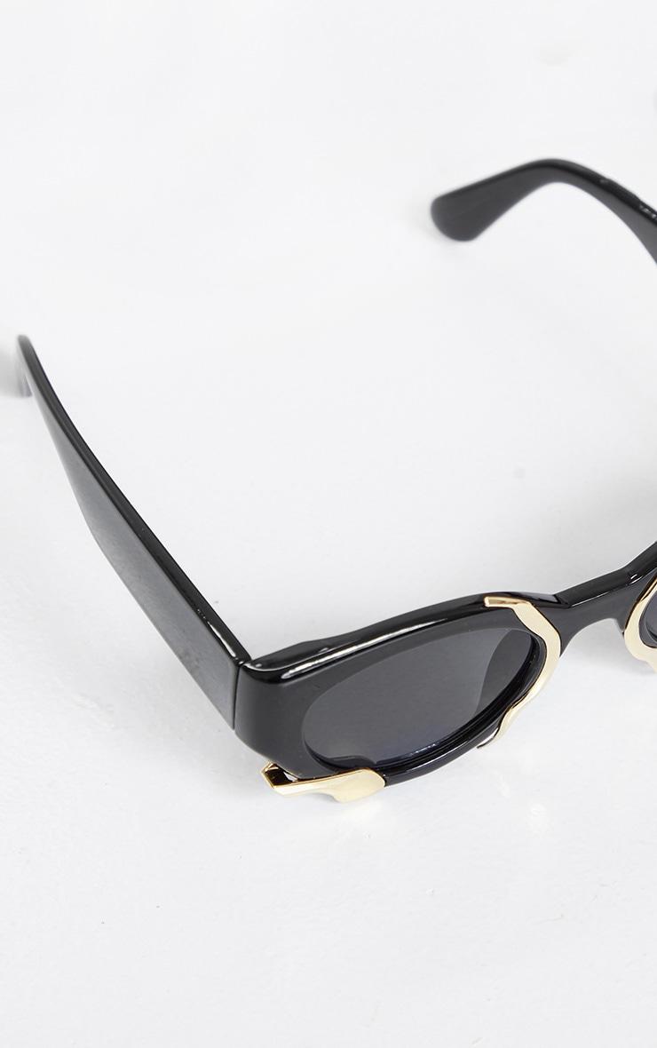 Black Frame Gold Trim Cat Eye Sunglasses 4