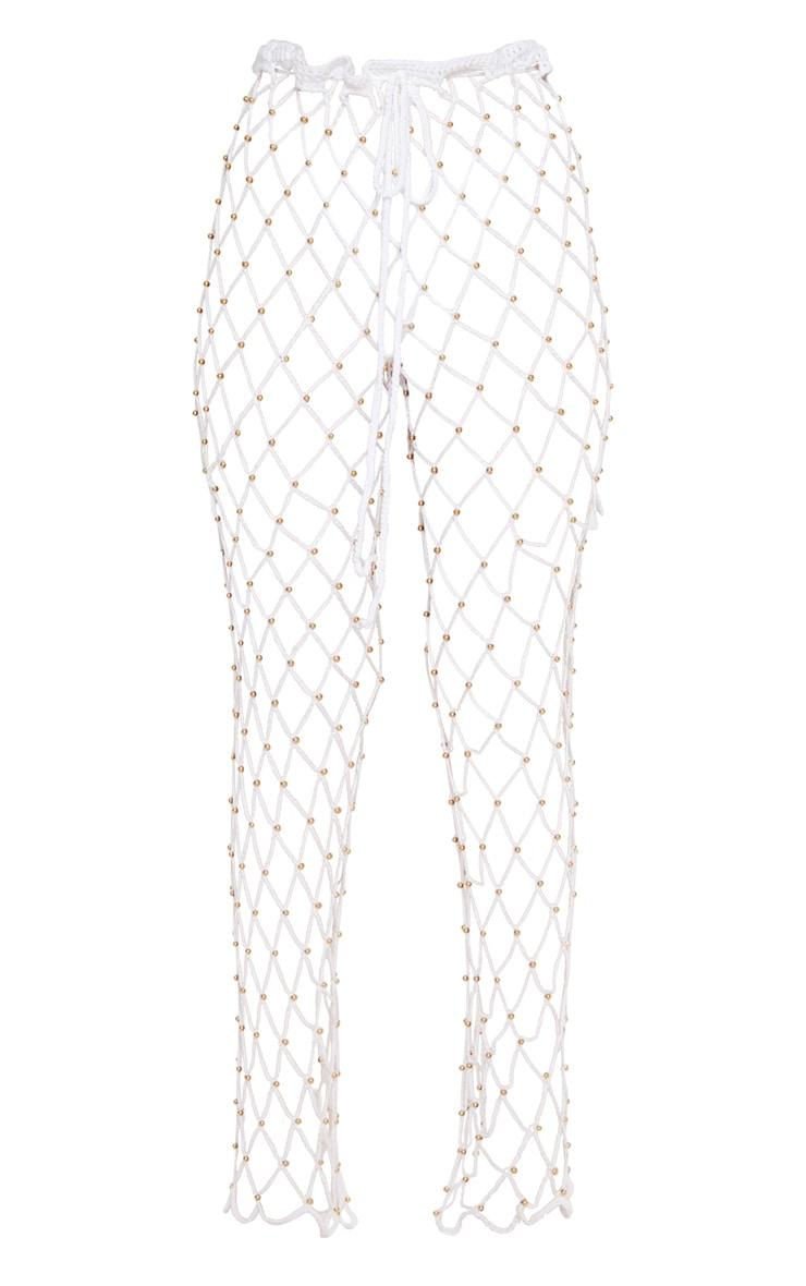 White Crochet Beaded Trousers 2