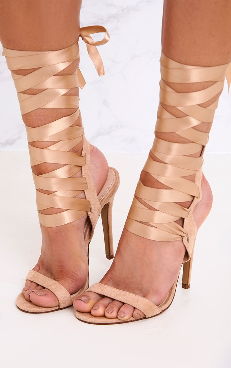Lorele Nude Ribbon Lace Up Heeled Sandals 1