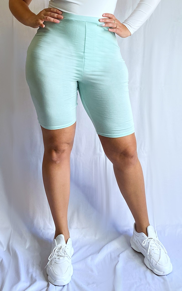 Plus Mint Green Basic Bike Shorts 2