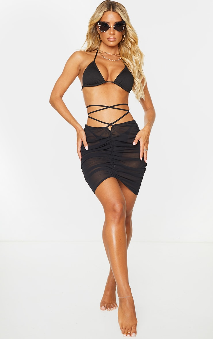 Black Tie Waist Ruched Beach Skirt