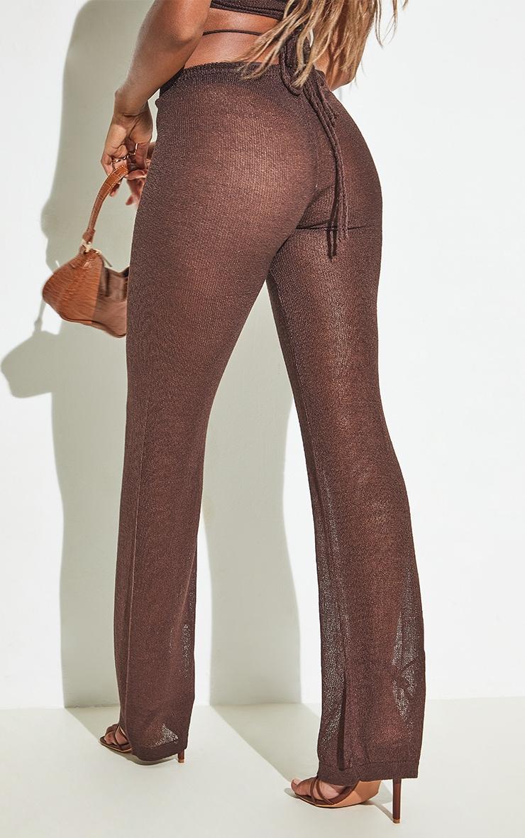 Chocolate Tie Waist Detail Sheer Knit Flare Pants 6