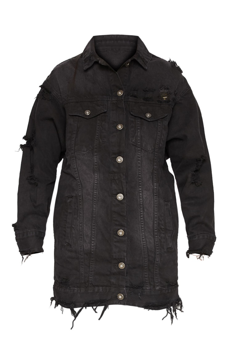 Black Longline Distressed Denim Jacket 3