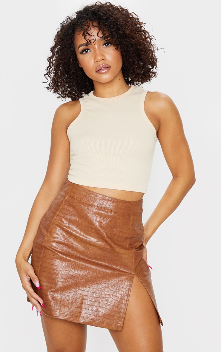 Tan Croc Vinyl Seam Detail Mini Skirt 1