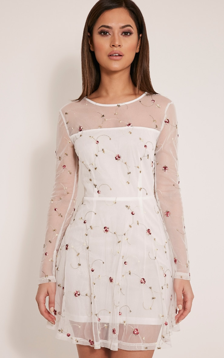 Eena White Embroidered Floral Prom Dress 1