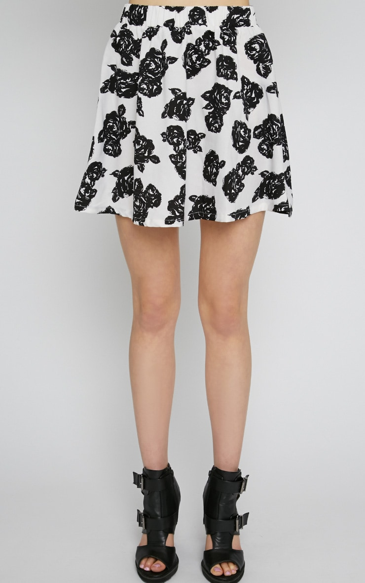 Fiona Monochrome Floral Print Skirt 4