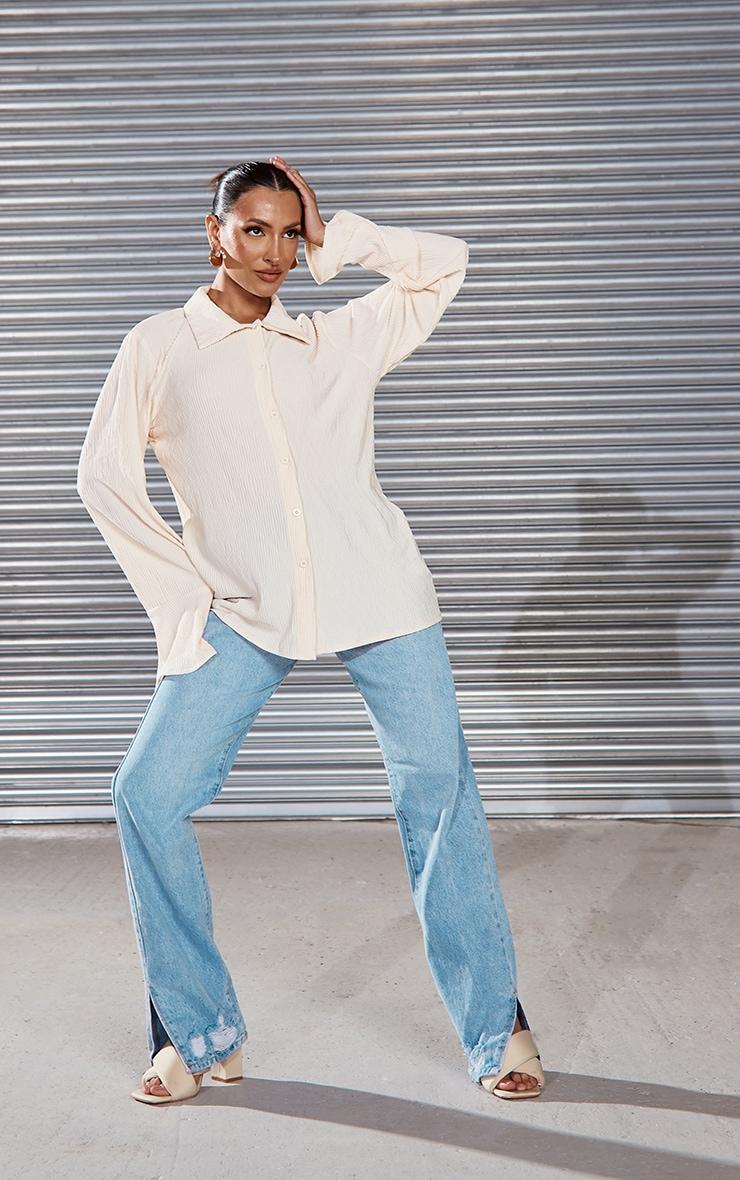Cream Textured Pleated Shirt 3