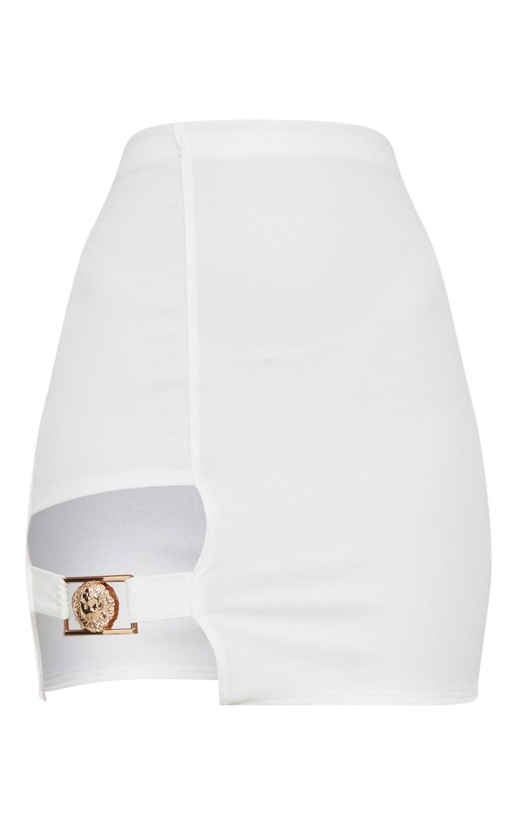 White Lion Head Buckle Detail Mini Skirt  3