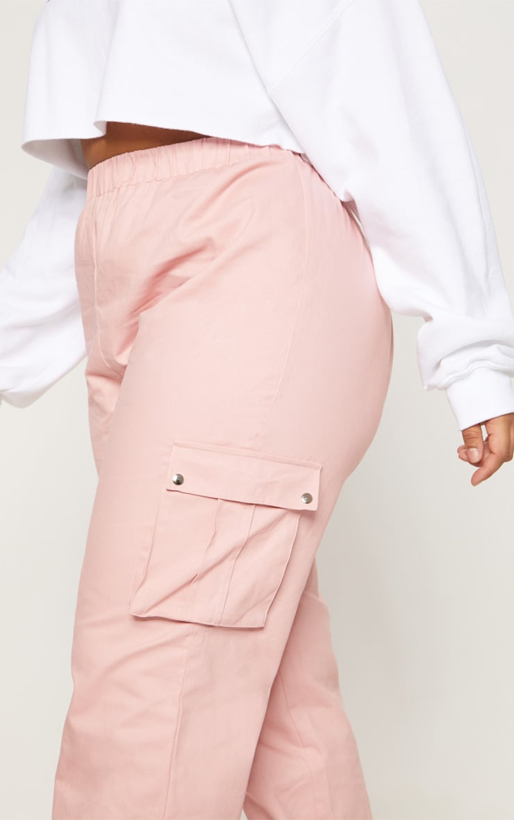 Plus Dusty Pink Pocket Detail Cargo Trousers 4