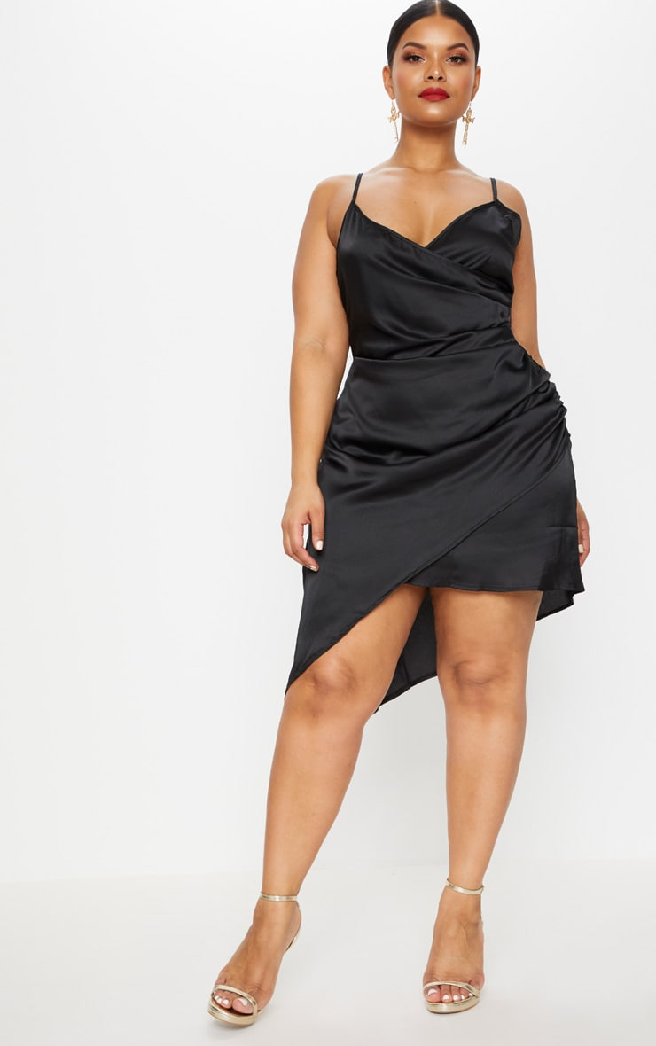 Plus Black Satin Wrap Dress 2