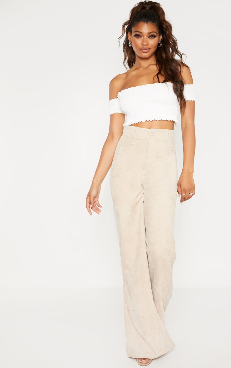 Tall White Shirred Bardot Crop Top 4