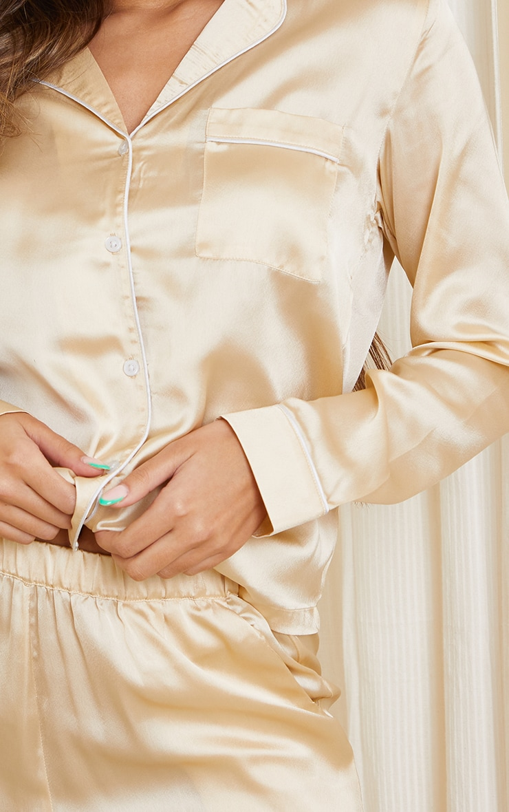Champagne Mix And Match Piped Detail Satin Long Sleeve PJ Shirt 4