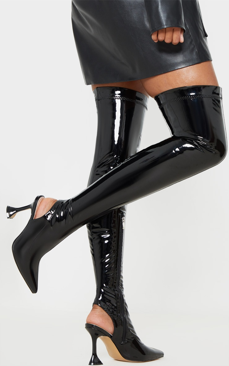 Black Point Toe Cake Stand Thigh High Sock Boot 3