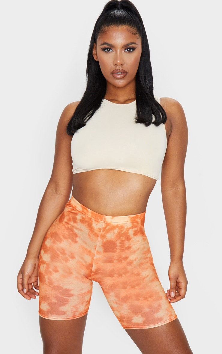 Basic Orange Tie Dye Cycle Shorts 4