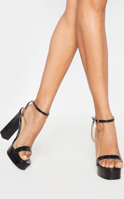 Black Platform High Strappy Sandal