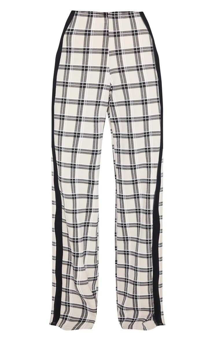 Stone Check Wide Leg Side Stripe Trouser 3
