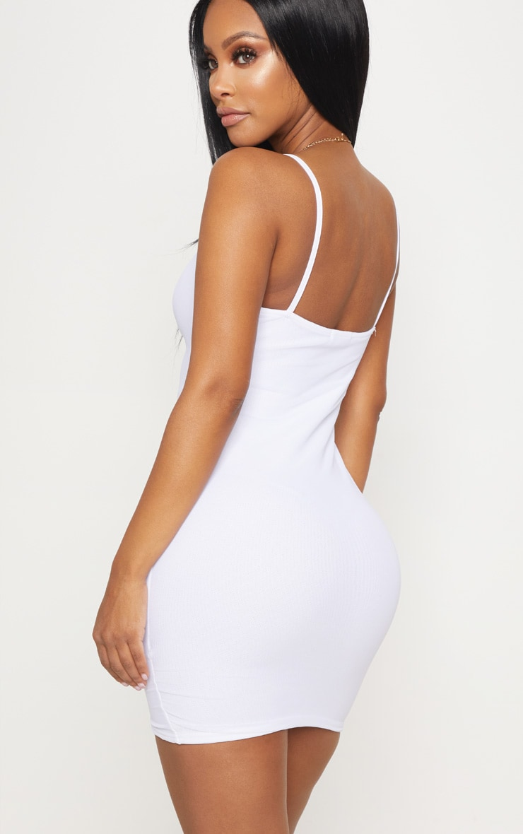 Shape White Mesh Ruched Tie Mini Dress 2