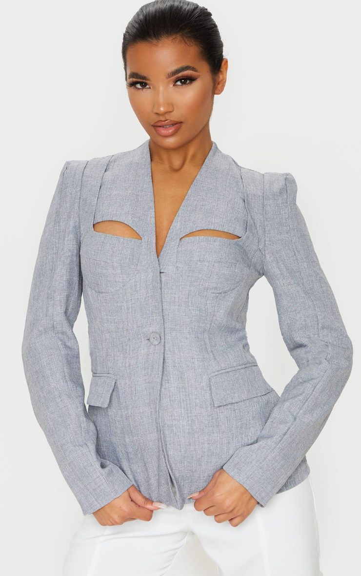 Grey Cut Out Cup Detail Blazer 1