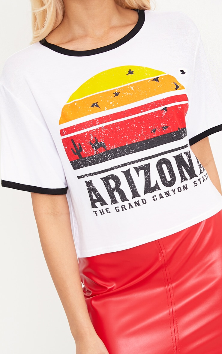 Arizona Printed White Contrast Jersey Crop top 5