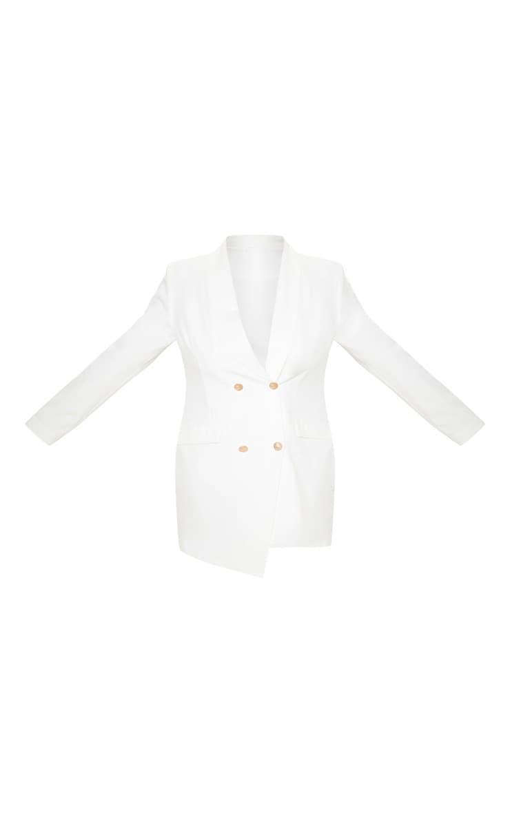 Plus White Gold Button Blazer Dress 3