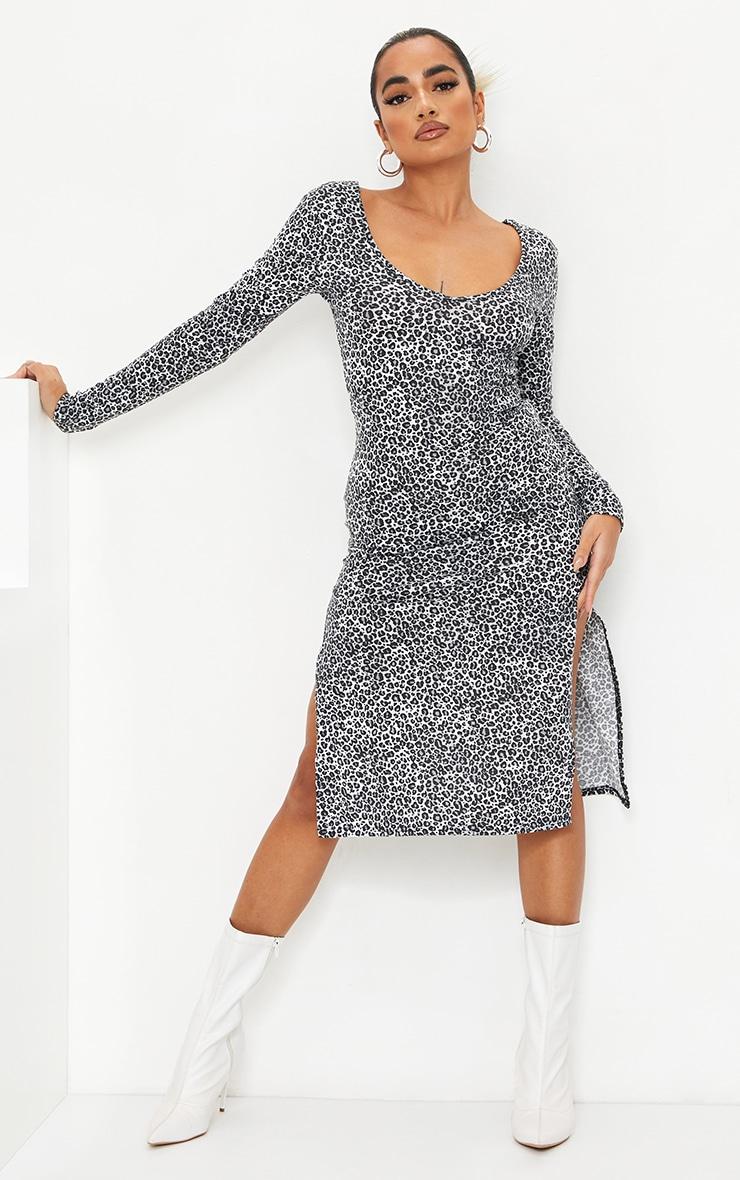 Petite White Long Sleeve Leopard Print Jersey Split Midi Dress 1
