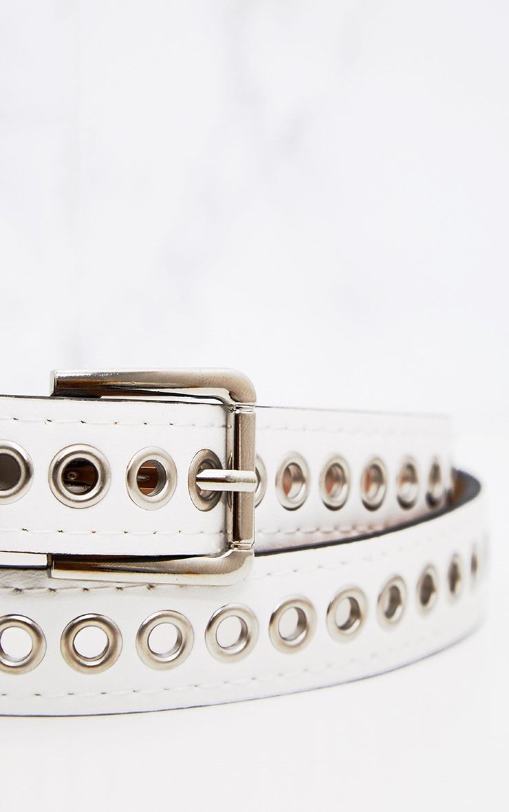 White Thin Eyelet Detail Belt 5
