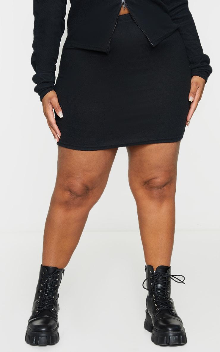 Plus Black Soft Brushed Rib Mini Skirt 2