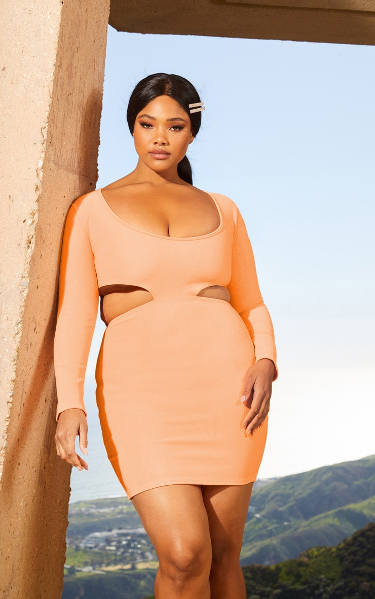Plus Peach Second Skin Scoop Neck Cut Out Side Bodycon Dress 1