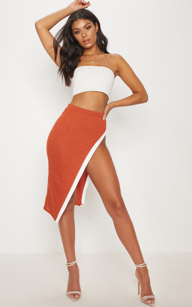 Orange Contrast Midi Skirt 1