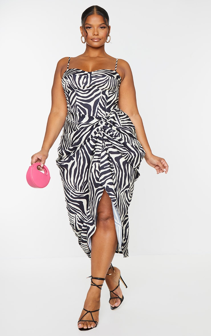 Plus Monochrome Zebra Print Ruched Side Midi Skirt 1