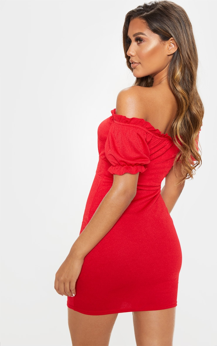 Red Short Sleeve Tie Front Hook And Eye Bodycon Dress 2