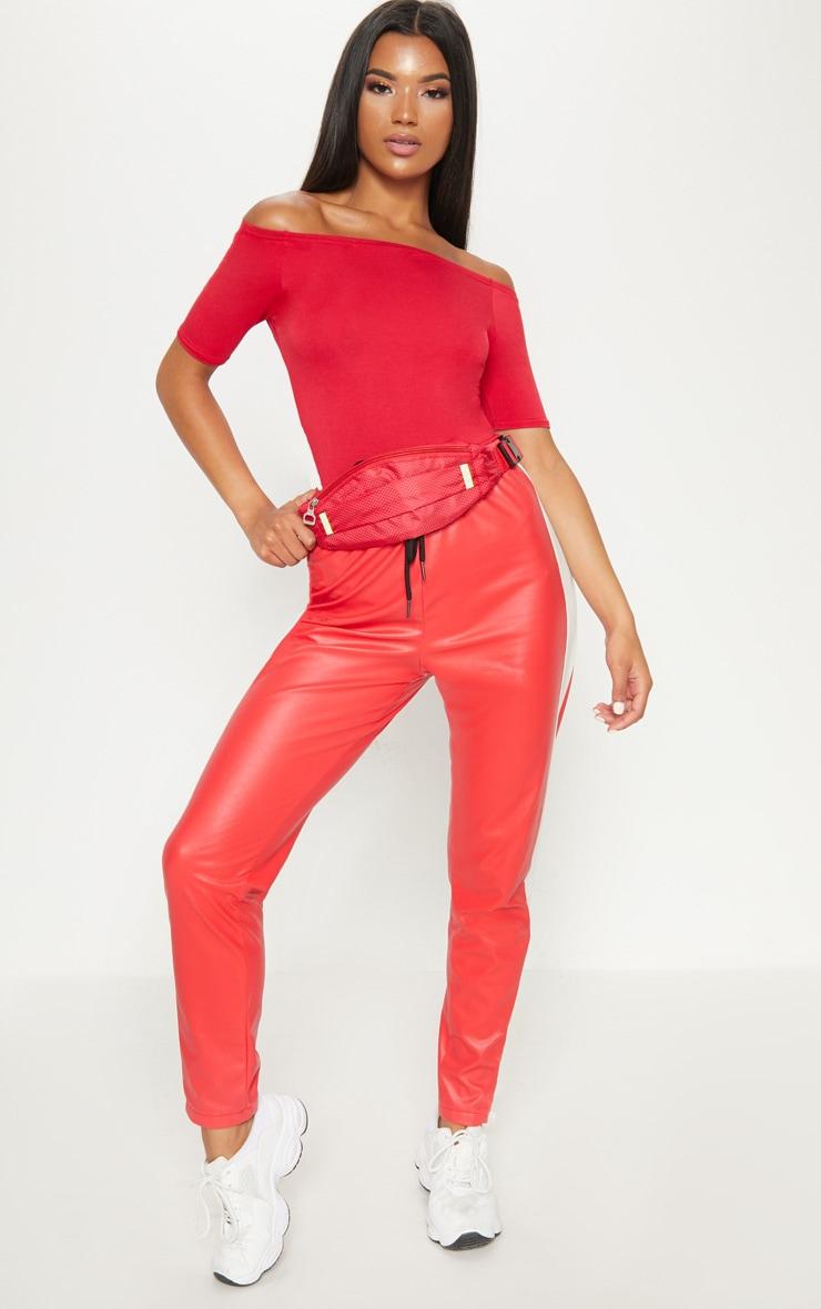Basic Red Bardot Short Sleeve Bodysuit  5