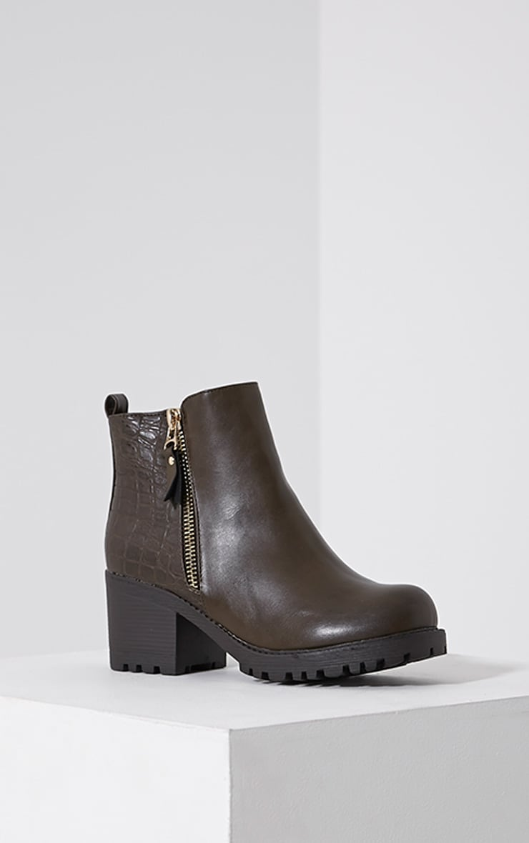 Maddie Taupe Croc Heeled Ankle Boots 3