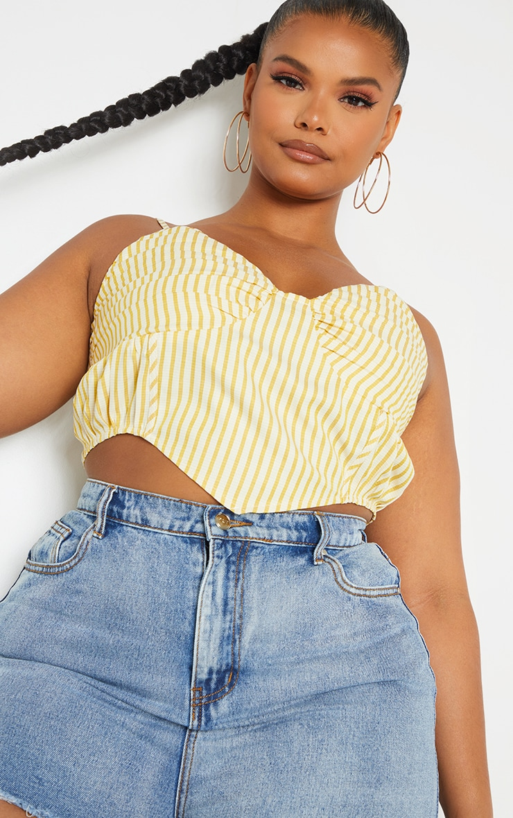 Plus Yellow Stripe Curved Hem Ruched Cup Crop Top 4