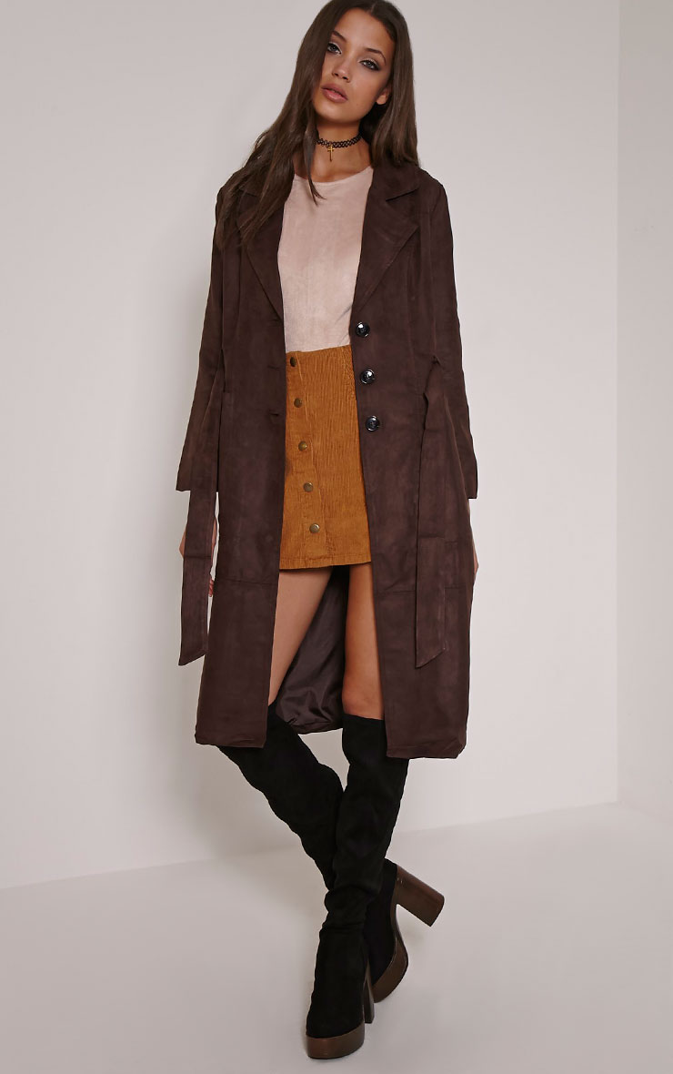 Elinor Chocolate Faux Suede Trench Coat 1