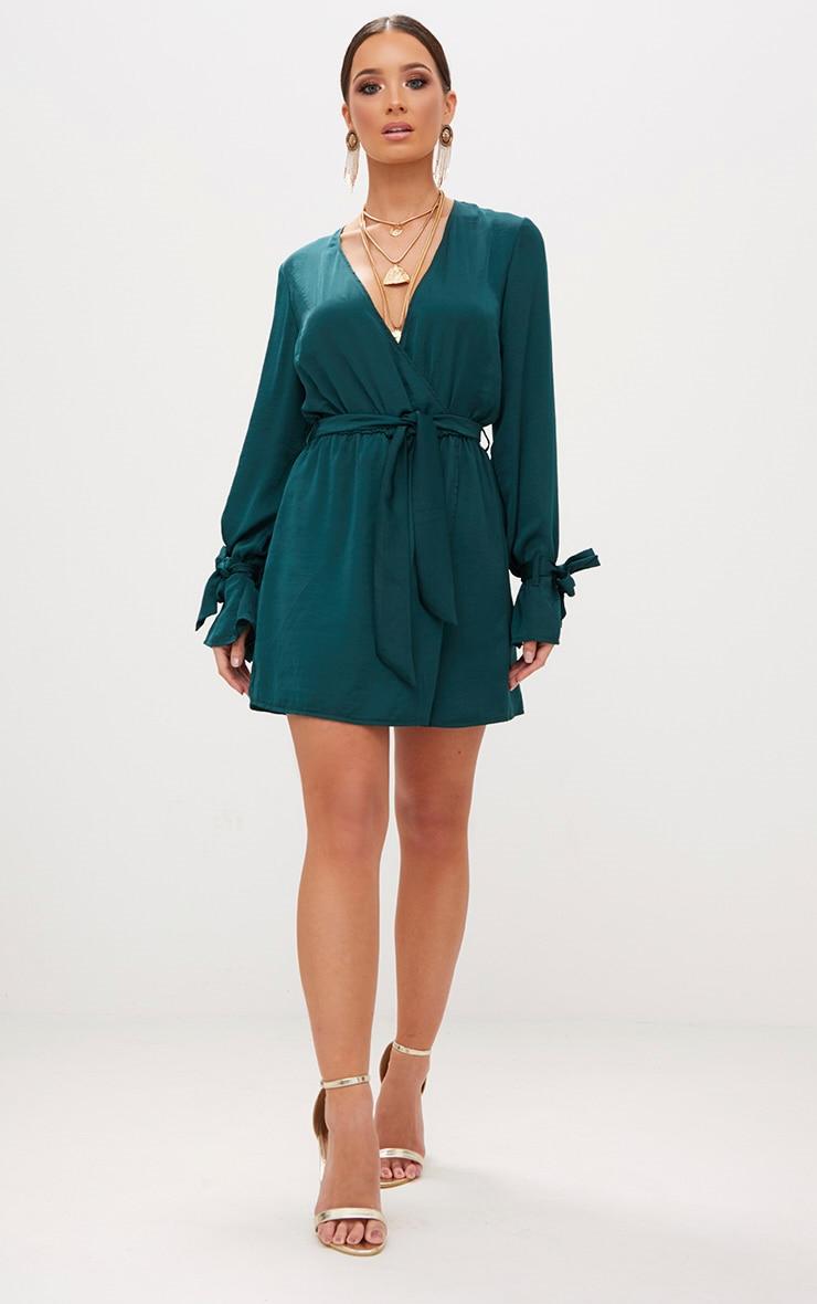 Emerald Green Satin Wrap Cuff Detail Shift Dress  4