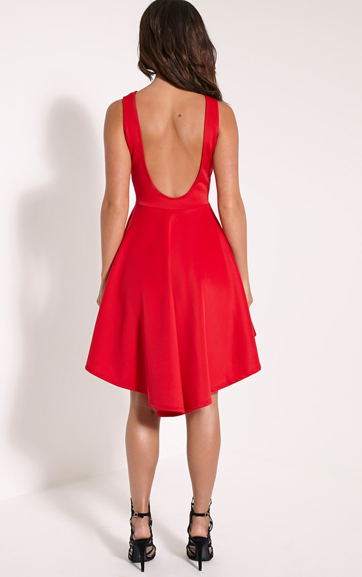 Leyla Red Drop Hem Backless Midi Dress 2
