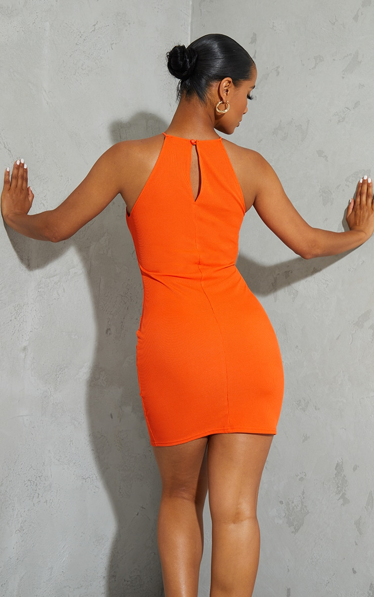 Orange Ribbed High Neck Scoop Armhole Bodycon Dress 2