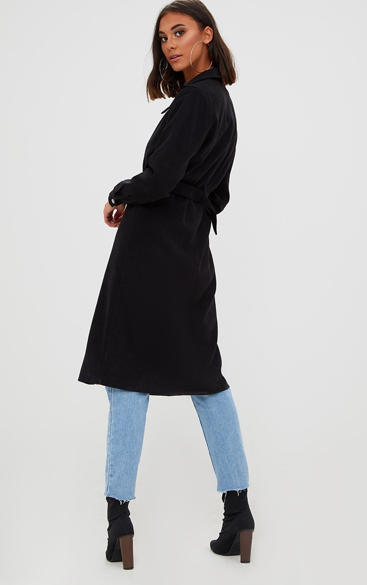 Black Longline Belted Trench Coat 2