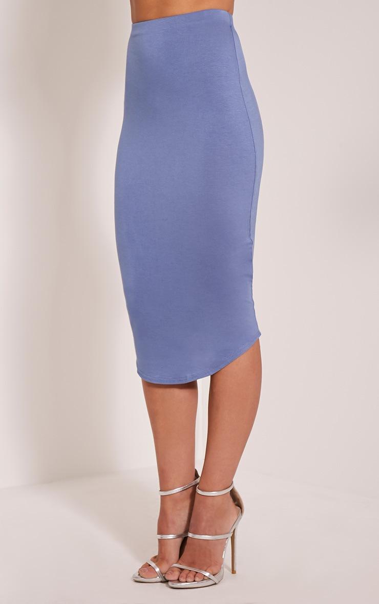Ariana Petrol Blue Curved Hem Midi Skirt 4