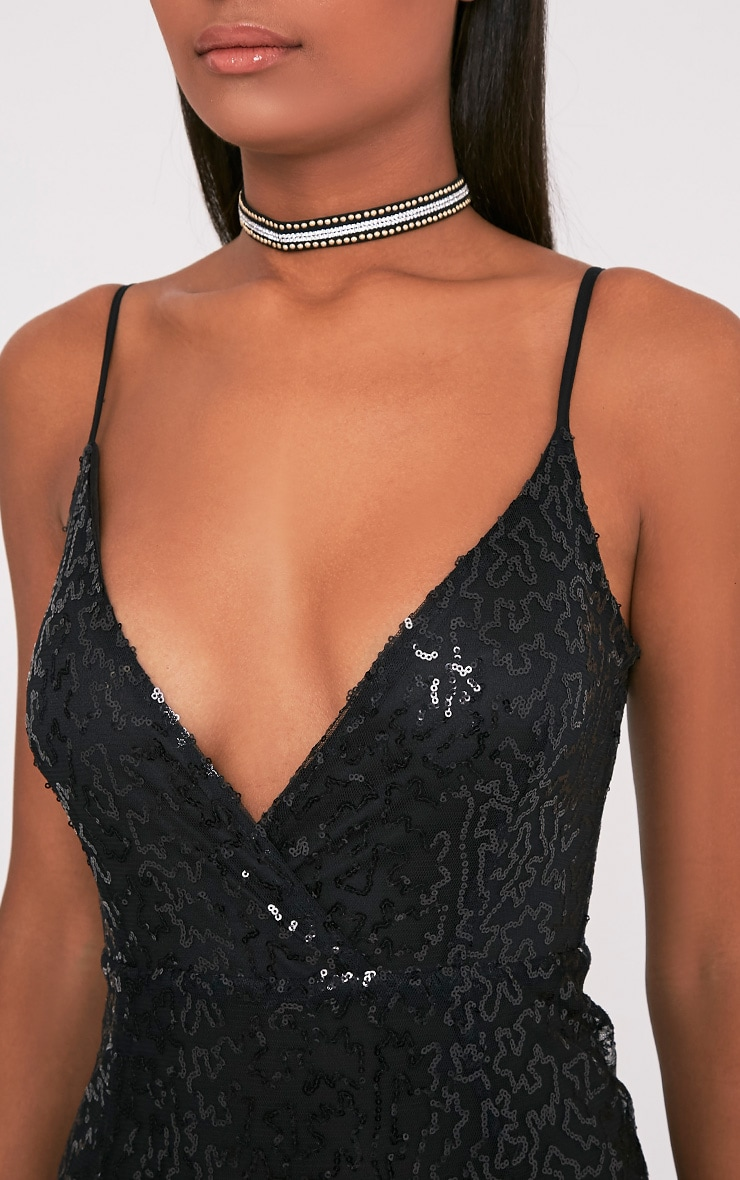 Betsie Black Strappy Sequin Midi Dress 6