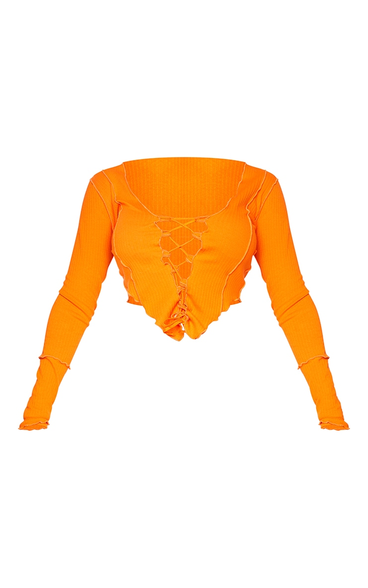 Shape Orange Thick Rib Contrast Stitch Rope Detail Long Sleeve Crop Top 5