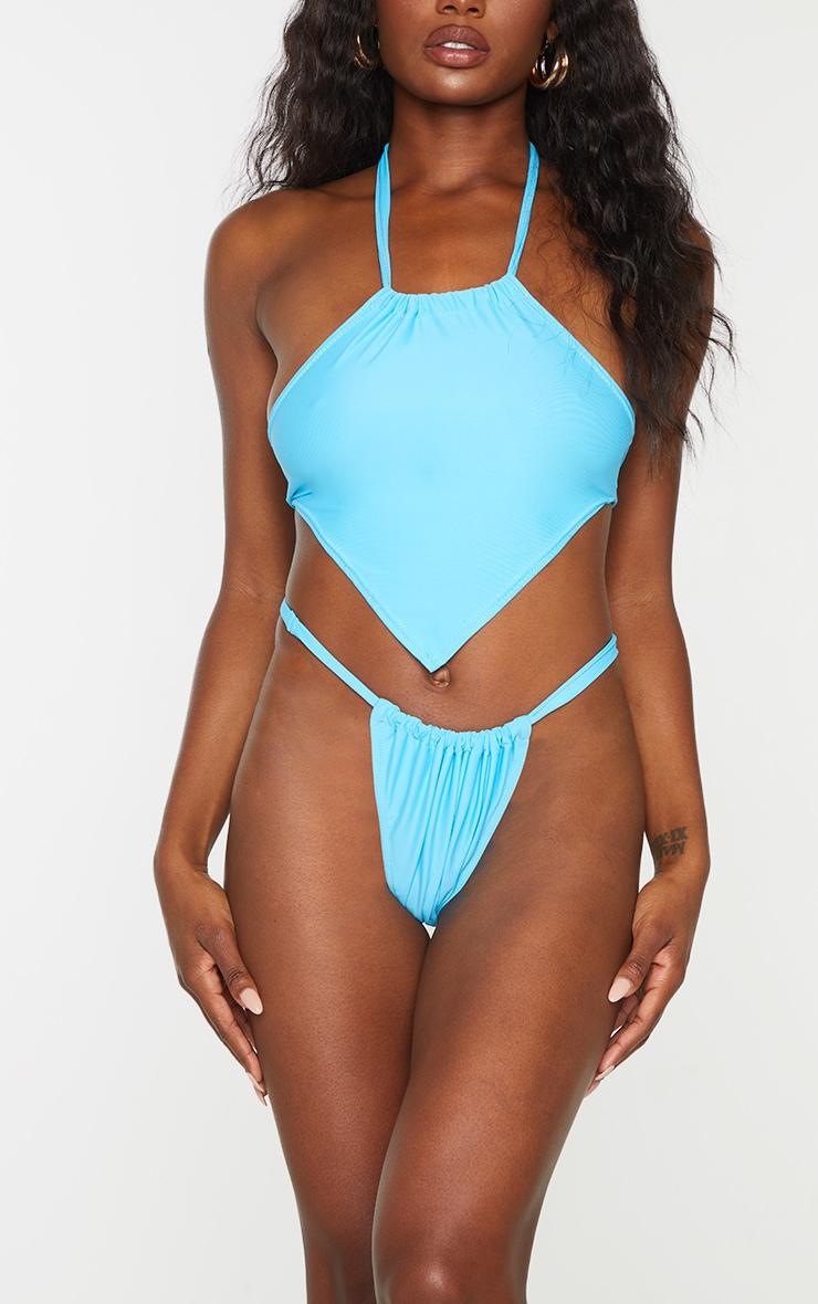 Blue Adjustable Tanga Bikini Bottoms 1